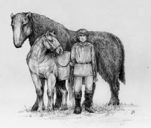 Sag, horse and man by VivianaStellata