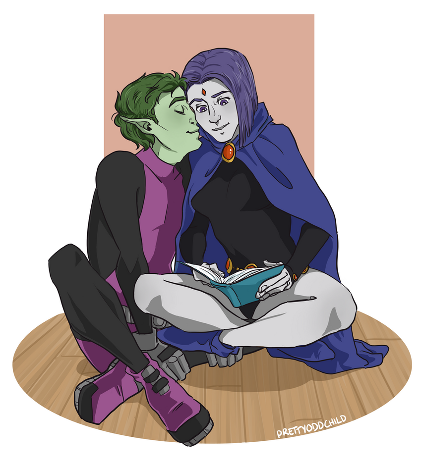 Raven and Beast Boy by prettyoddchild