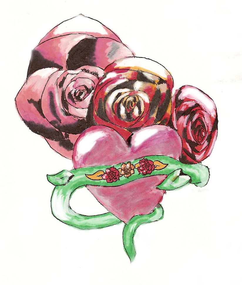 Rose heart tattoo by miesterzef on deviantart for Rose heart tattoo