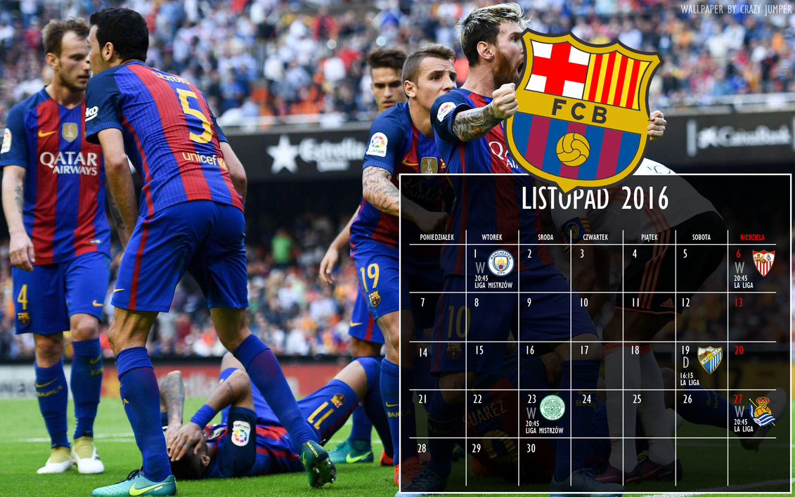 Barcelona Calendar Wallpaper : Fc barcelona calendar listopad november wallpaper by