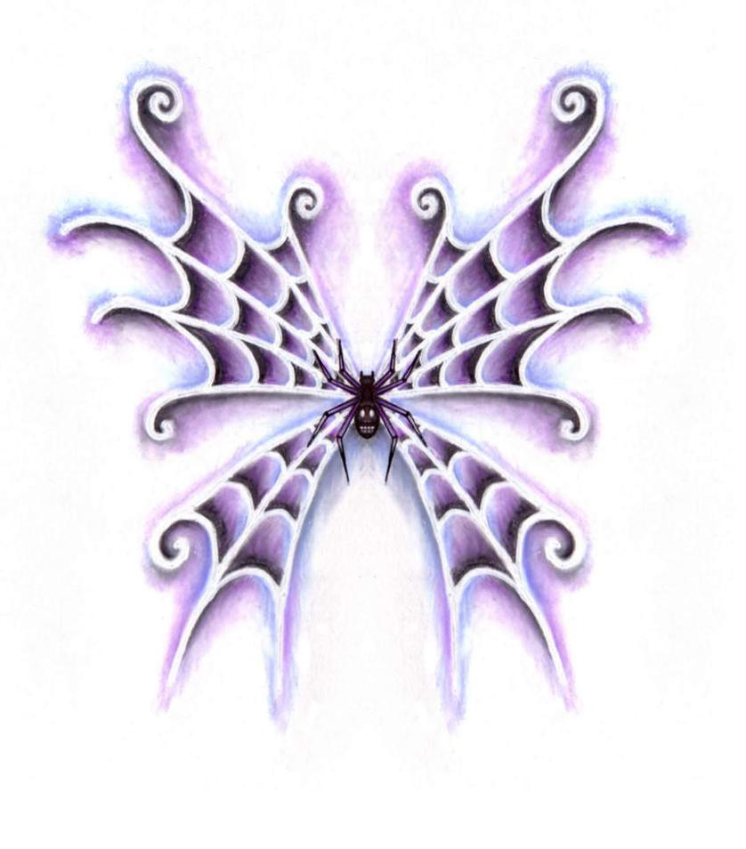 Wings Spider Tattoo Design