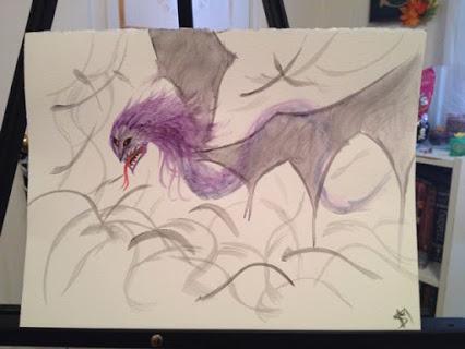 Watercolour purple dragon by HpyGrl567