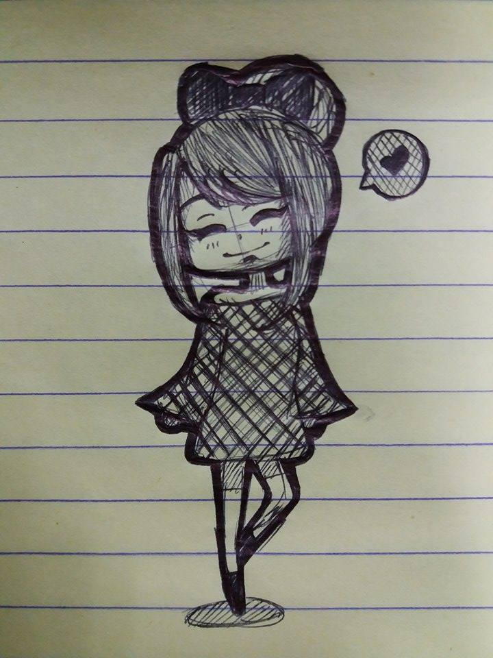pen sketch random bun girl by 38250968 on deviantart