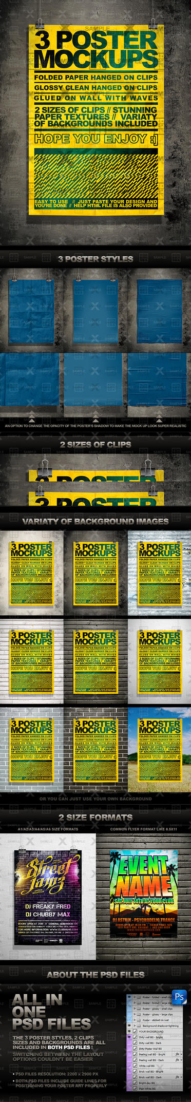 Poster Mock Up Kit - 3 Unique Styles by kontrastt