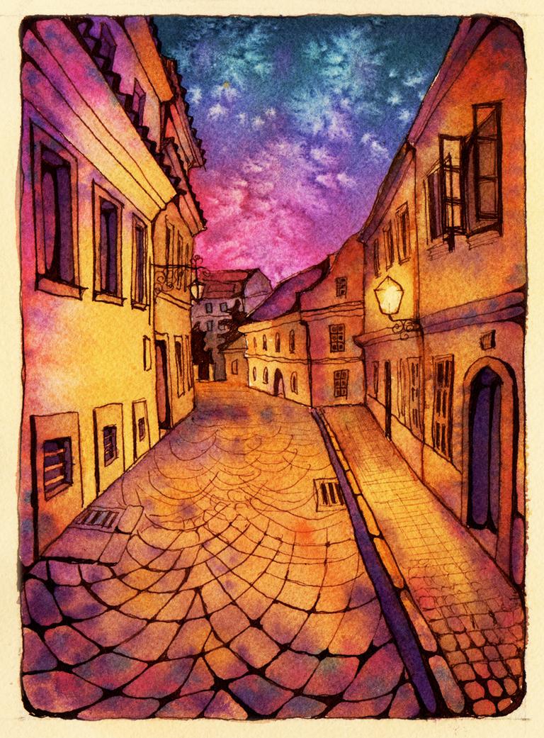 Prague street by AokiAvsen