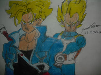 Super Sayian Trunks and Vegeta -SkooB 12/10/12 by SkoobyForever