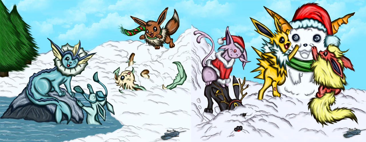 Holiday Eevees Together by The-Bluetip