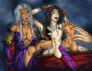 Urd and Peorth Tickled by PsylisiaDragoon