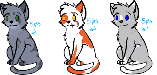 Cat Adoptables 5 CLOSED by Spiritpie