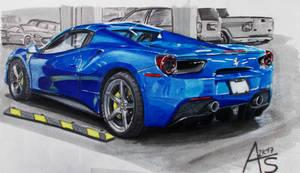 Blue Ferrari 488.