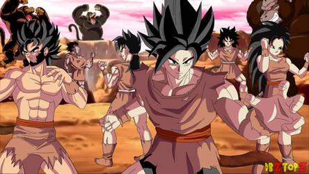 Yamoshi and his 5 friends, fighting saiyans Fanart by dark1089