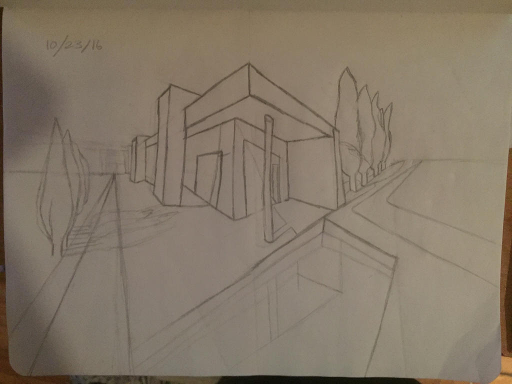 how to draw 2 point perspective house