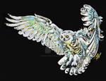 Snowy owl fly