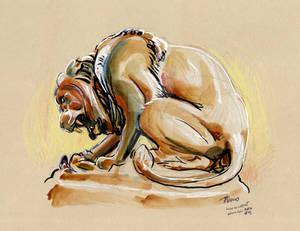 Lion au serpent