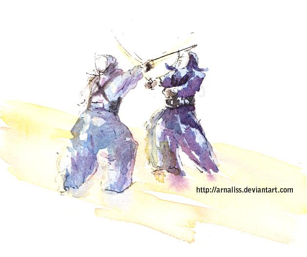 Kendo watercolor by vientocaprichoso