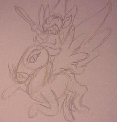 (light sketch) Monkey riding a flying donkey by angelpichu1