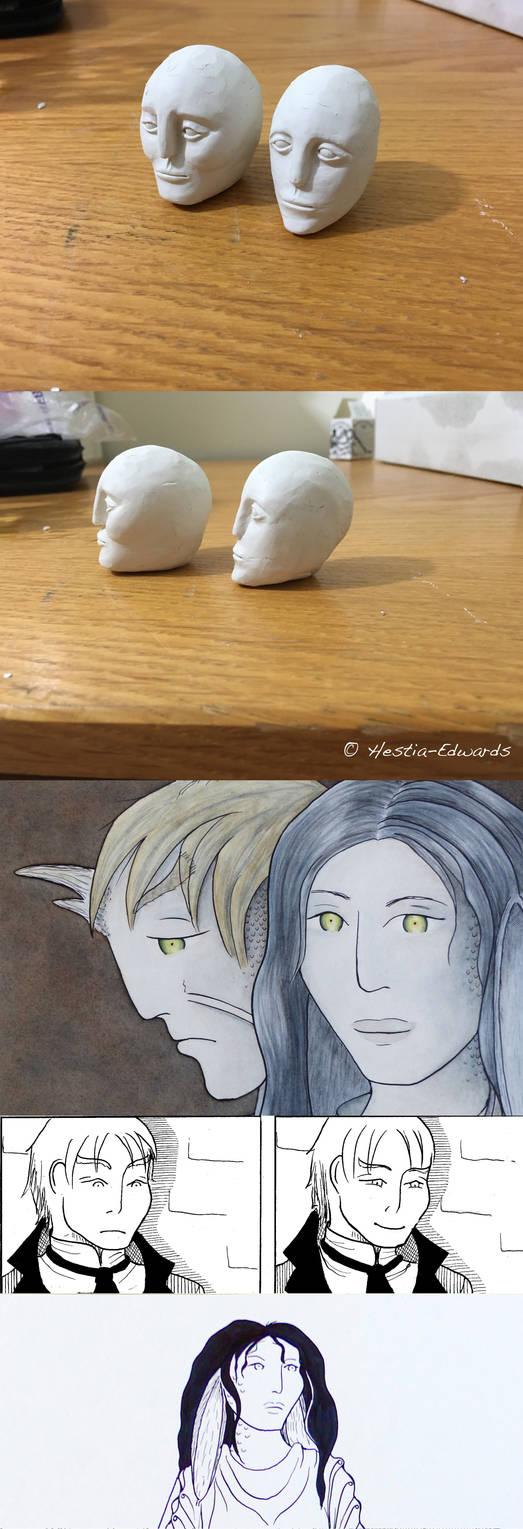 WIP: Elaishar and Halaina Sculptures by Hestia-Edwards
