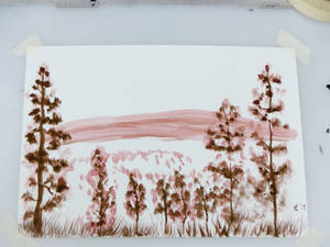 Sepia Inking--Landscape and Trees