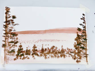 Take 2: Sepia Inking--Landscape and Trees by Hestia-Edwards