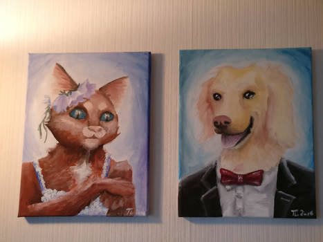 Painting of Miss Cat and Mister Dog