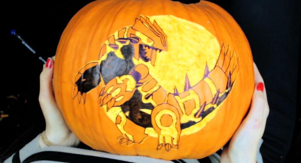 Pumpkin Carving: Pokemon Primal Groudon Omega Ruby by Lexvandis