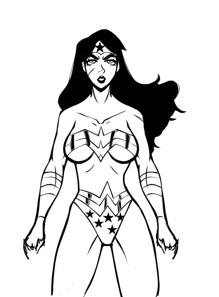 Wonder woman inking process by RaykuZan