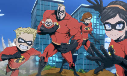 The Incredibles in My Hero Academia at U.A