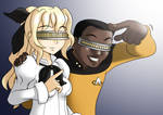 Lily with Geordi La Forge