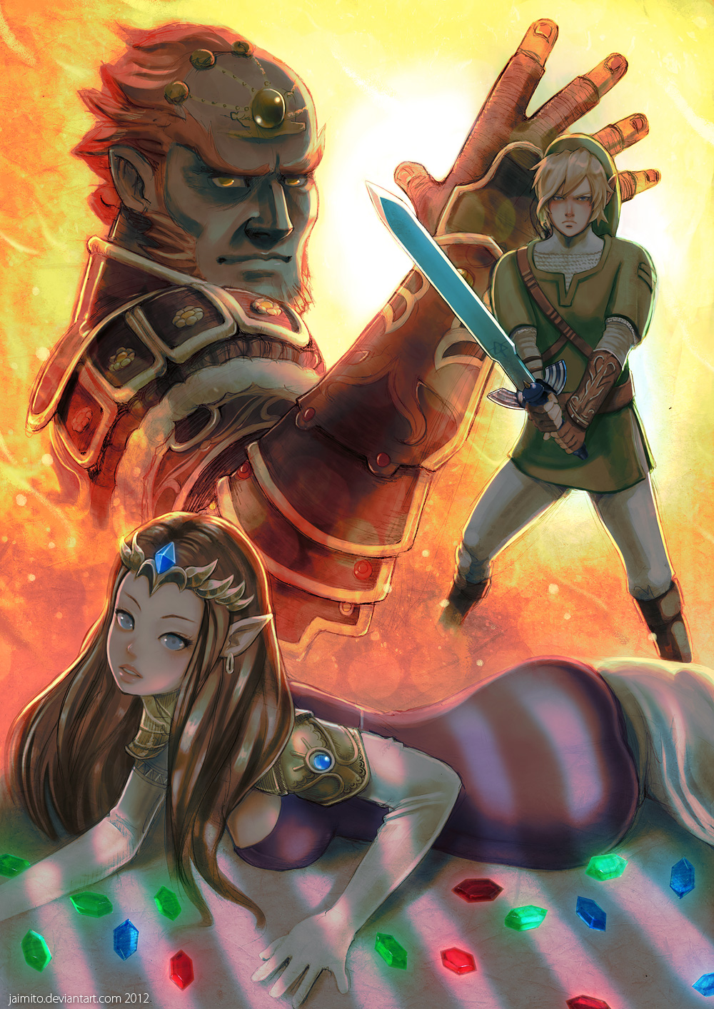 Zelda Ganon and Link by jaimito