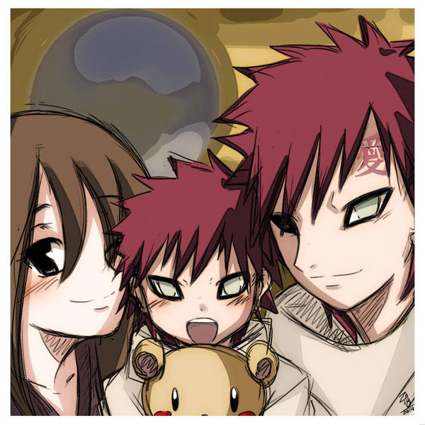 Naruto AU - Family Portrait by ZA-18 on DeviantArt Gaara And Matsuri Kiss