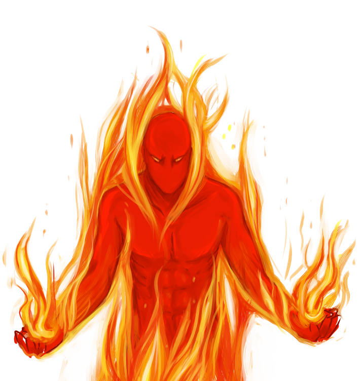 how to draw person with a fire