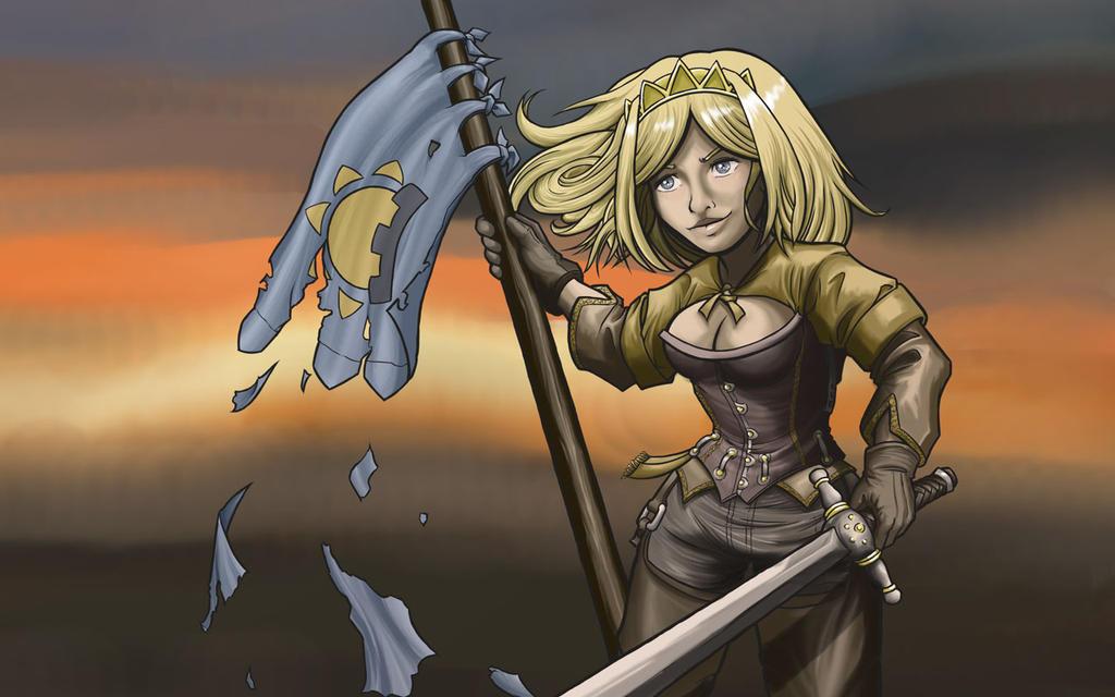 Flag warrior girl