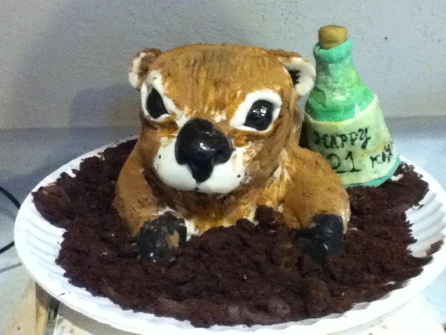 Groundhog birthday cake by MomIsMean