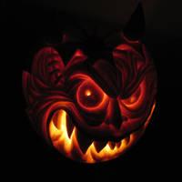 'Devil' Pumpkin by crazyjazzer