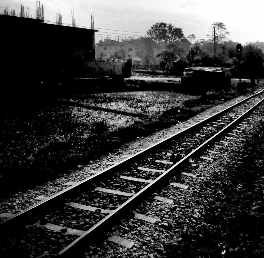 railroad, black and white photography by zaharaesha