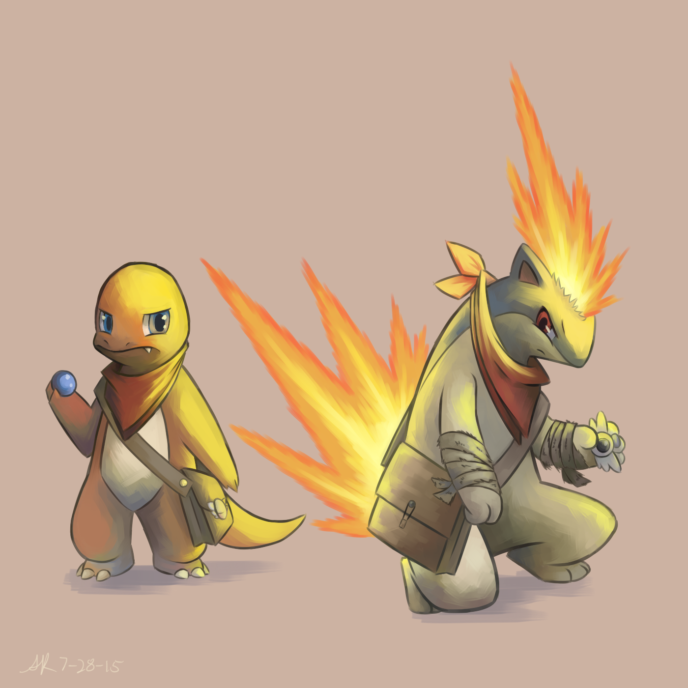 charmander and quilava by lilarrin on deviantart