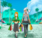 Profesora burnet y oc girl pokemon, commission