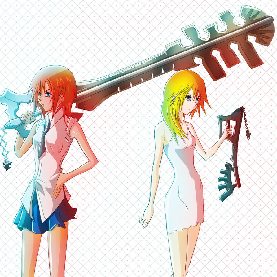 Kairi and Namine - Gaia Bane and Wayward Wind by Kyonne