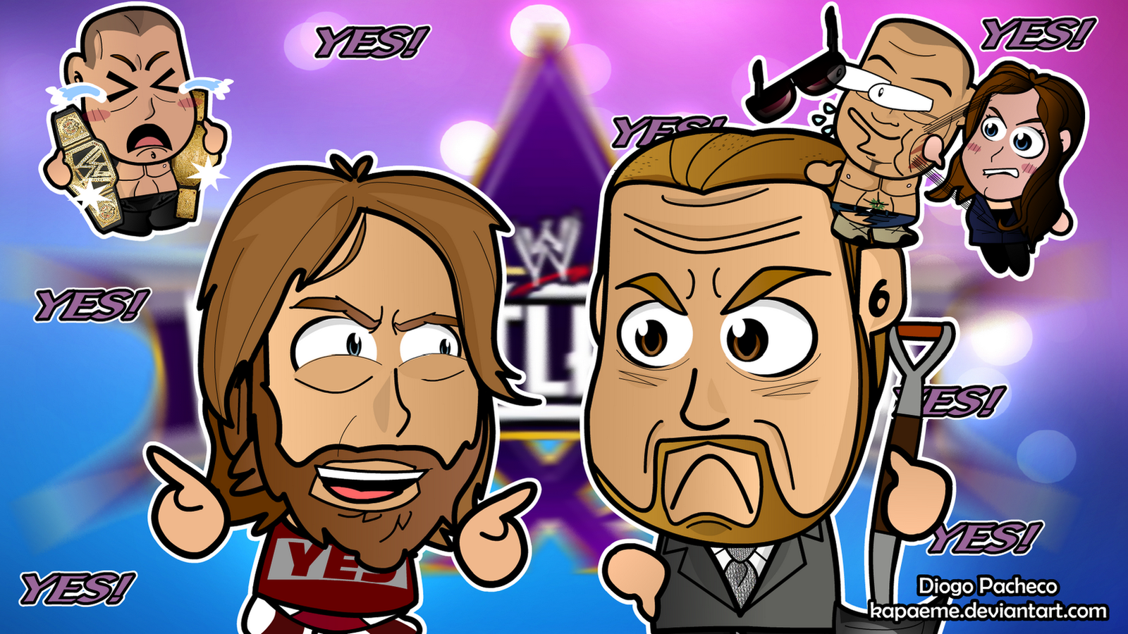 Daniel Bryan x Triple H - WM30 Chibi Wallpaper by kapaeme