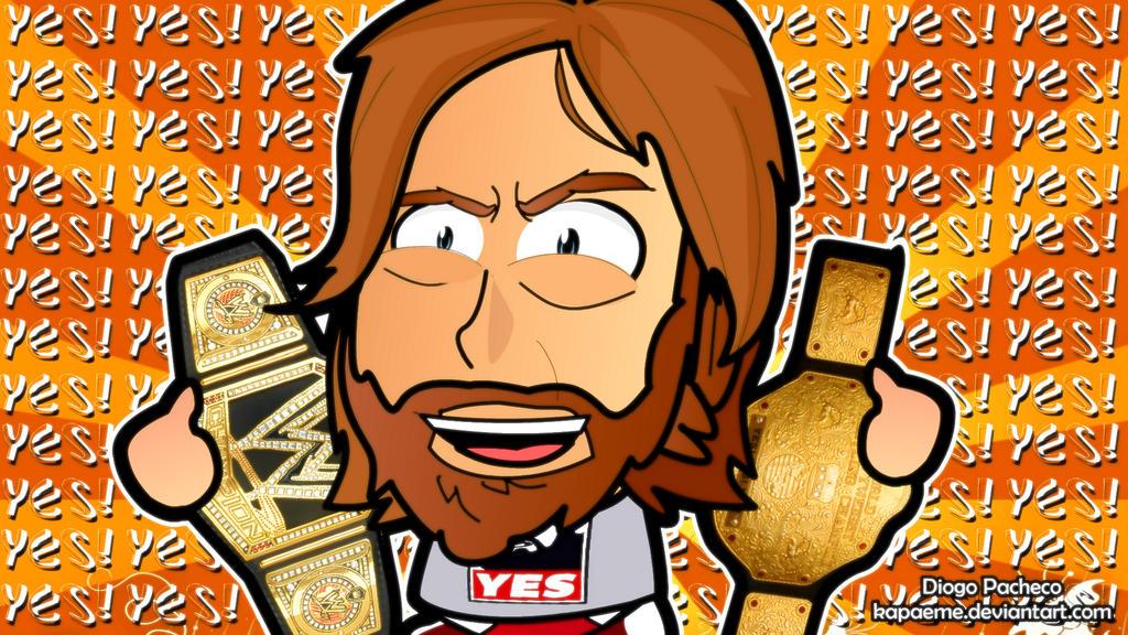 Daniel Bryan WWE World Champion - Chibi Wallpaper by kapaeme