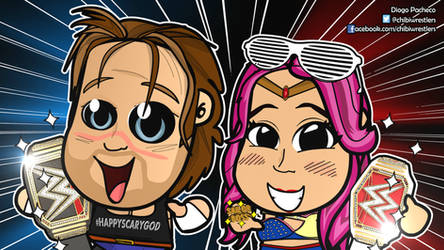 HappyScary Dean and Sasha Banks Chibi Wallpaper