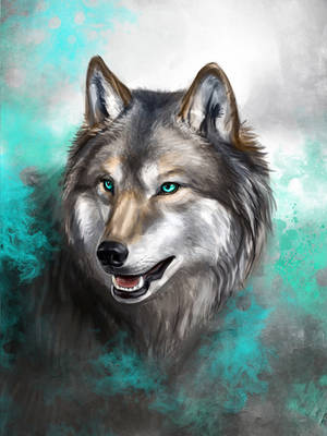 Turquoise Wolf by KimDingwall