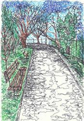 Sketch of my uni, path in the arboretum