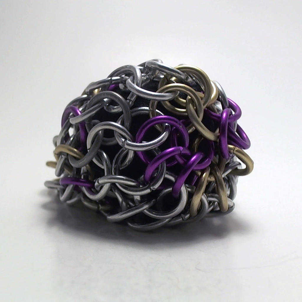 matte gold violet and silver footbag by ofmyhats on