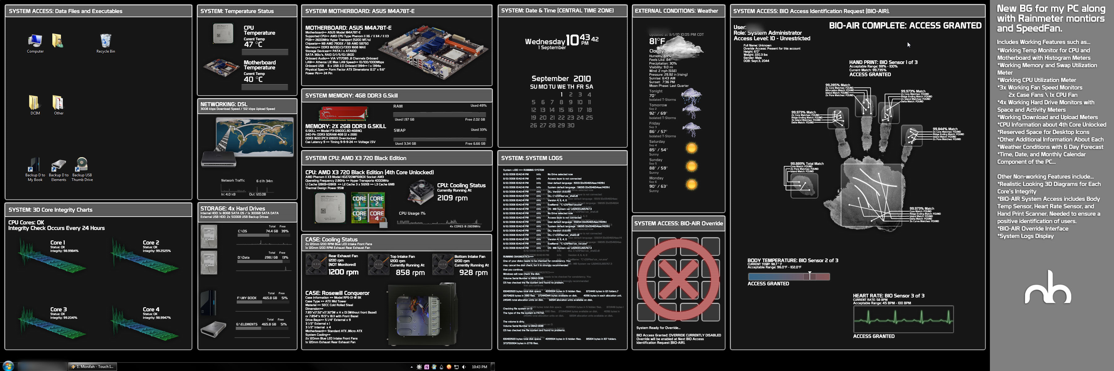 Realistic System Monitor BG v3 by mbgd
