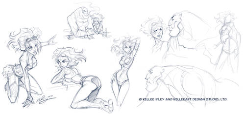 Phae and G sketches set 1 by KelleeArt