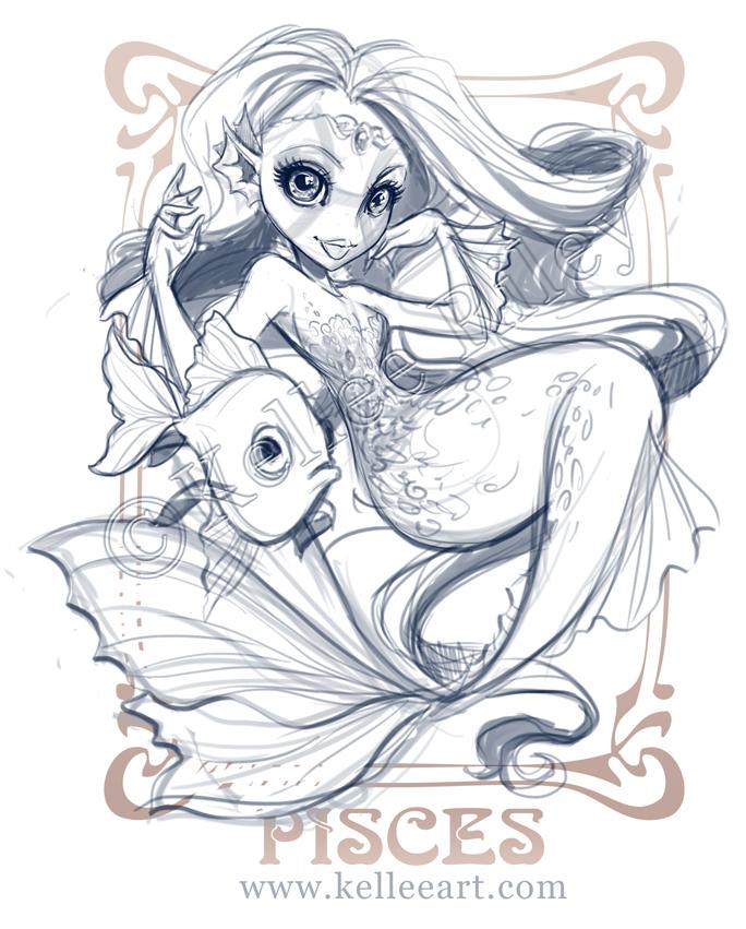 Zodiac - Pisces sketch by KelleeArt