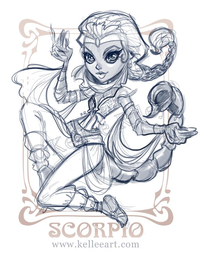 Zodiac Line Drawing : Zodiac series scorpio sketch by kelleeart on deviantart