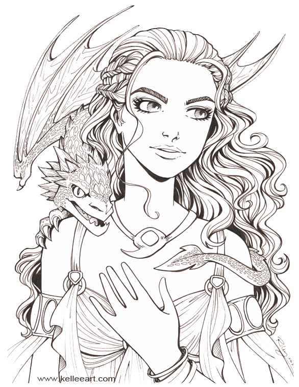 coloring pages for recolor - dragon mother by kelleeart on deviantart