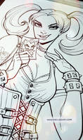 Harley Commish - inking stage